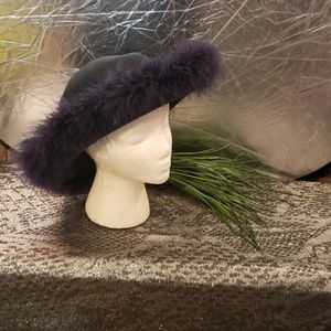 Ladies feather trimmed wool hat